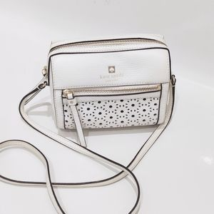 Kate Spade White Laser Cut Floral Crossbody Purse